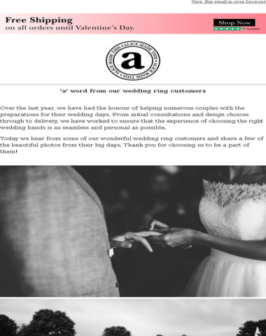 'a' word from our wedding ring customers
