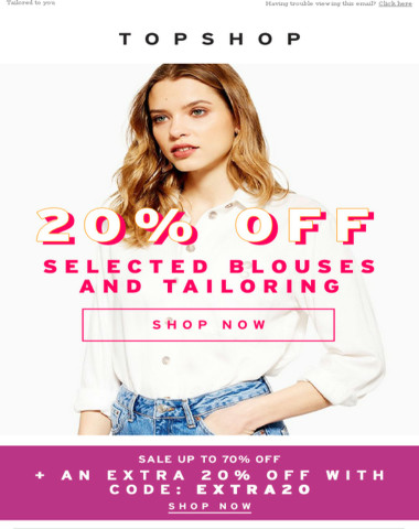 20% OFF blouses and tailoring