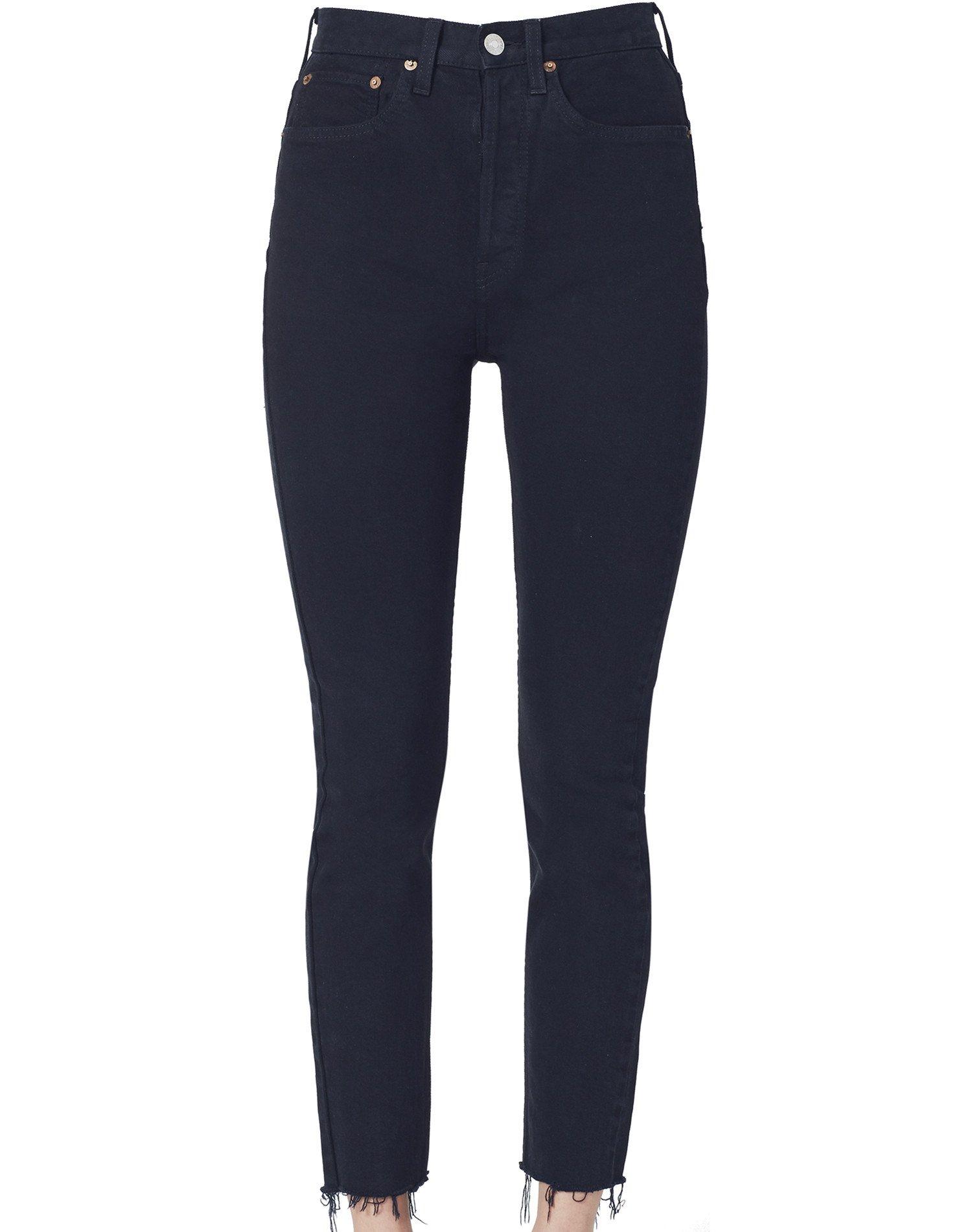 Stretch High Rise Ankle Crop - Black
