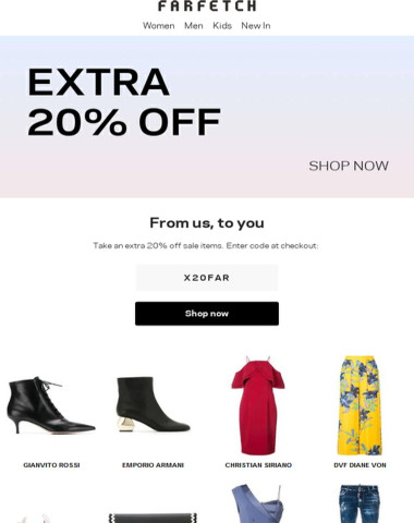 Don't miss an extra 20% off sale items