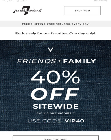 TODAY ONLY: VIPs Take 40% Off