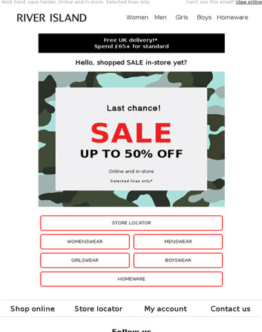 Last chance to bag up to 50% off in-store!