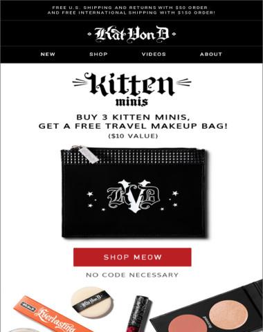 Buy 3 Kitten Minis, get a FREE Travel Makeup Bag