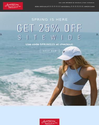 Spring sale. Get 25% off all headwear & apparel.