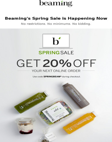 Beam all spring with 20% off site-wide