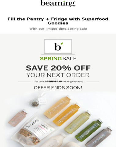 Stock-up for spring with 20% off sitewide