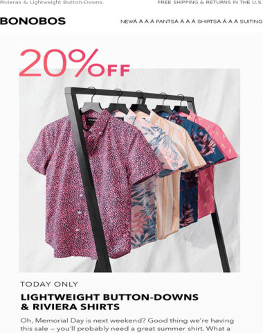 Today only, get 20% off select summer shirts.