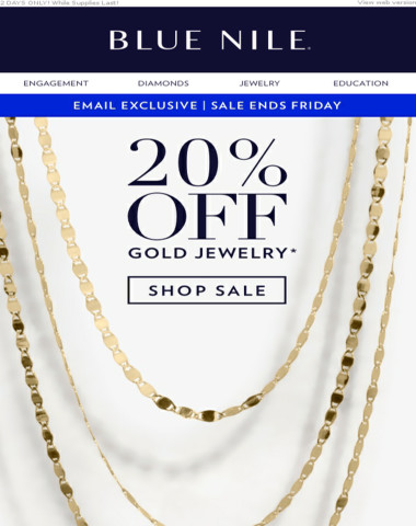 Email Exclusive FLASH SALE ⚡ 20% Off Gold Jewelry