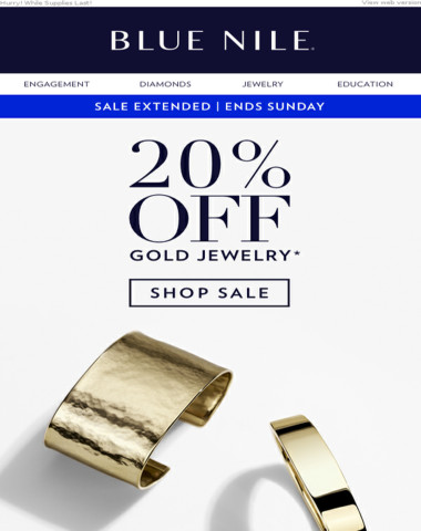 SALE EXTENDED! 20% Off Gold Jewelry
