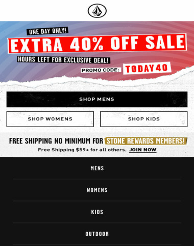 ONE DAY ONLY! 40% Off Sale Items