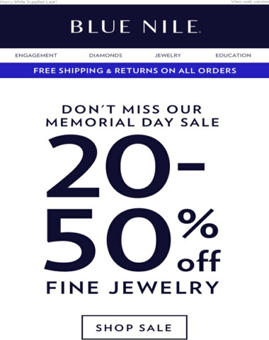 20-50% OFF Memorial Day Sale!