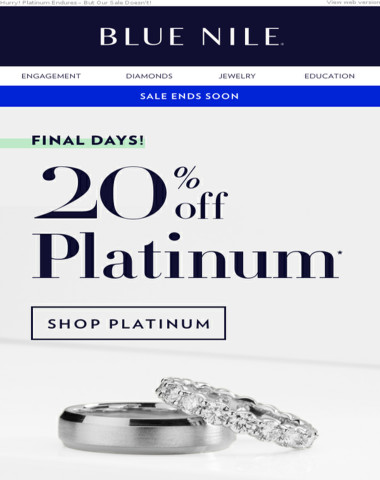 Last Chance! Save 20% On Your Platinum Wedding Bands