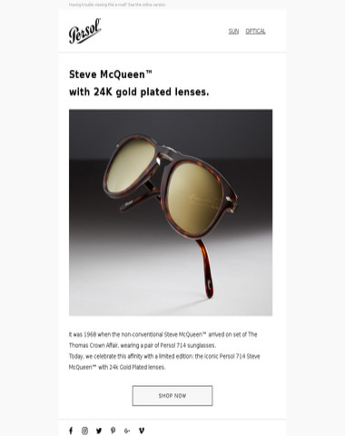 Steve McQueen™. Timeless. Iconic. Now gold.