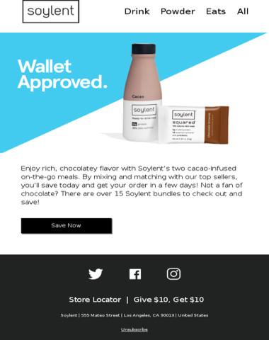 Soylent Savings for Chocolate Lovers