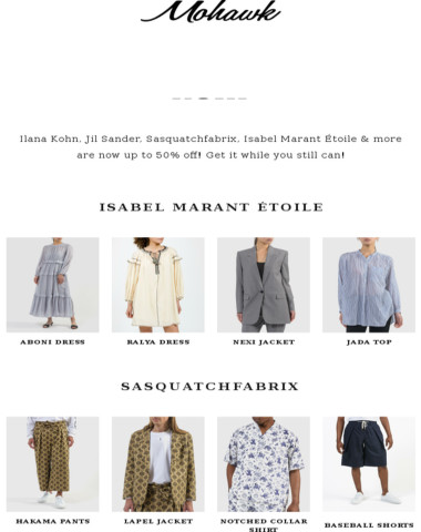NOW UP TO 50% OFF | New markdowns from Sasquatchfabrix, Jil Sander, Ilana Kohn & more