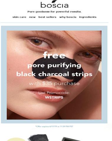 Say bye-bye to blackheads! Free Pore Purifying Black Charcoal Strips!?