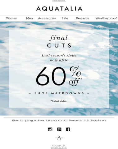 FINAL SPRING MARKDOWNS | up to 60% off