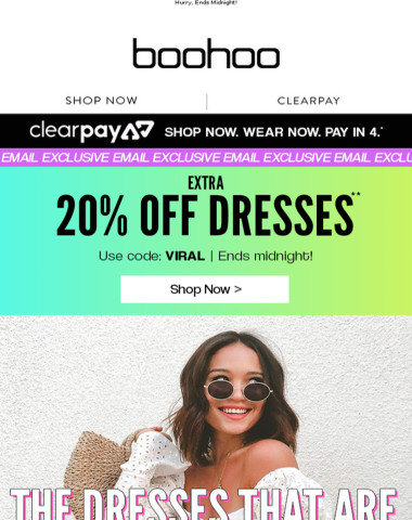 Extra 20% Off ALL Dresses! Go VIRAL ?