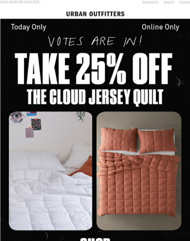 votes are in! take 25% OFF the Cloud Quilt