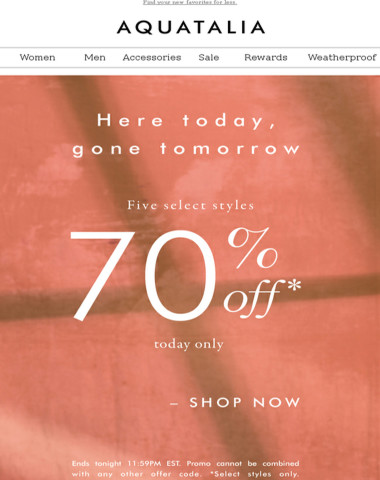 TODAY ONLY | Select styles 70% off