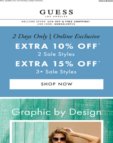 Starts Now: Extra 15% Off Sale