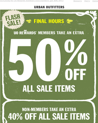 FINAL HOURS for extra 50% OFF sale