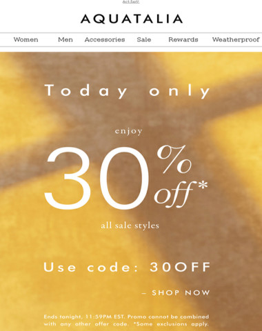 TODAY ONLY | 30% off all Sale Styles