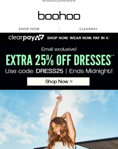 25% Off Dresses - Only Day Only!