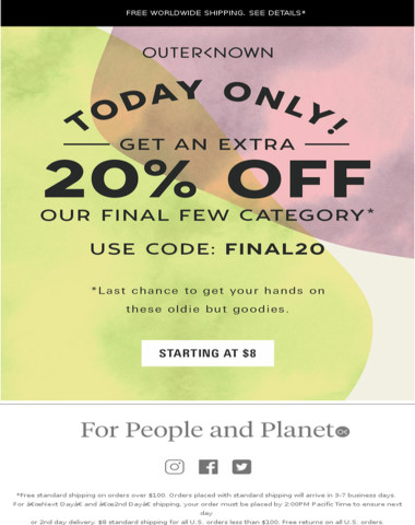Extra 20% off select sale begins NOW!