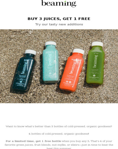 HAPPENING NOW: Buy 3 juices, get 1 on us!