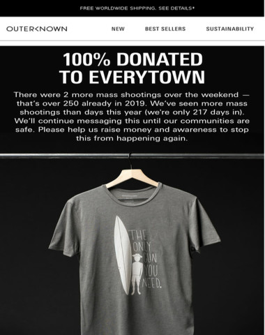 100% DONATED TO END GUN VIOLENCE