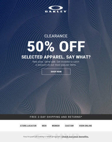 50% Off Selected Apparel. Back In Stock