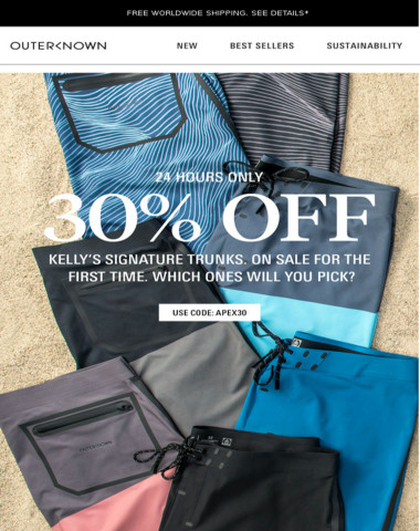30% OFF KELLY'S TRUNKS! TODAY ONLY!