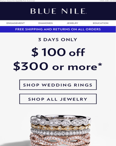 EMAIL EXCLUSIVE: $100 Off Weddings Rings & More