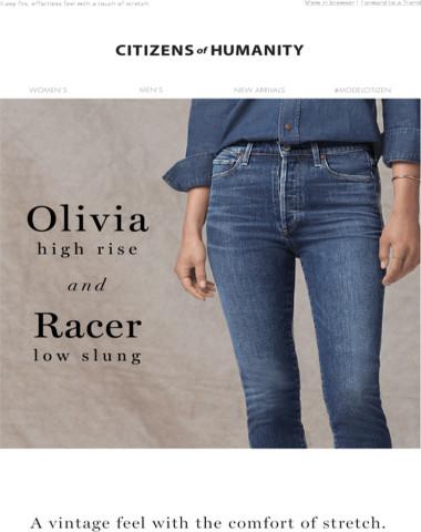 Vintage Favorites + Comfort Stretch: Olivia High Rise + Racer Low Slung