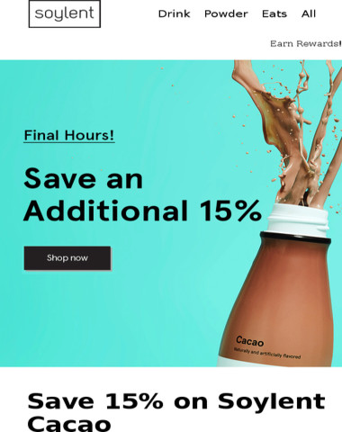 Last chance to save an additional 15% on Cacao