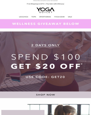 [2 Days Only] Spend $100 & Earn $20