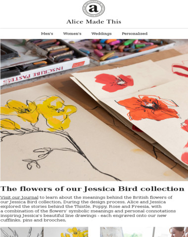 The flowers of our Jessica Bird collection