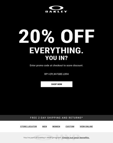20% Off EVERYTHING Online. Get Involved.