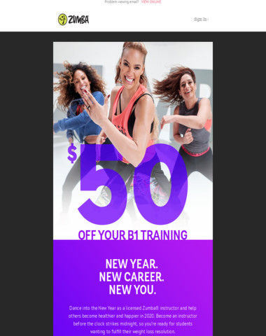 ? Into the New Year! $50 Off Your Zumba Instructor Training.