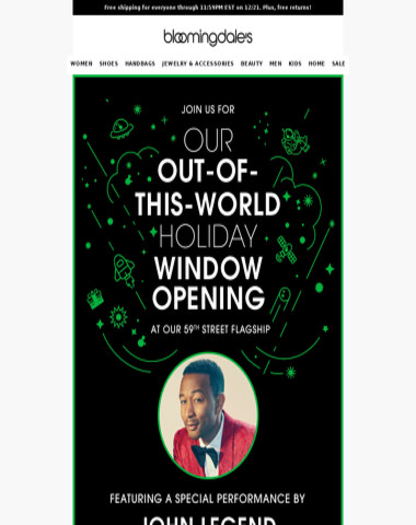 John Legend + our holiday window unveiling = LEGENDary!