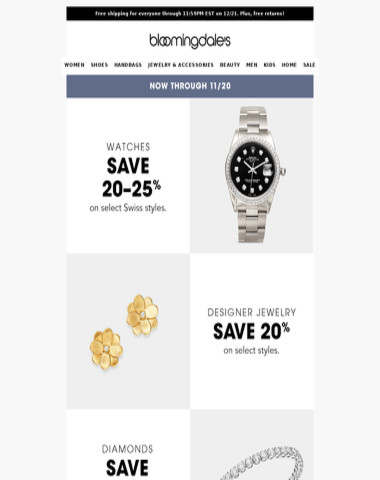 Designer jewelry and watches on sale now