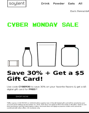 Cyber Monday! 30% off + FREE $5 gift card