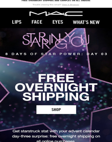 FREE OVERNIGHT SHIPPING is an advent calendar surprise that delivers  ? ?