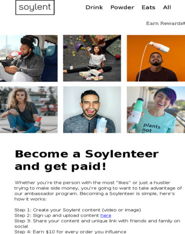 Get paid for being a Soylenteer!