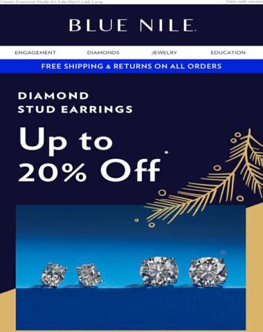 Up To 20% Off Diamond Stud Earrings!