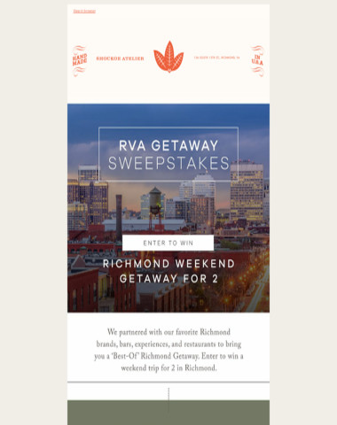 Holiday Giveaway - Win a Richmond Getaway for 2 | And Join us for a Special Holiday Shopping Event this Saturday, 3-8p