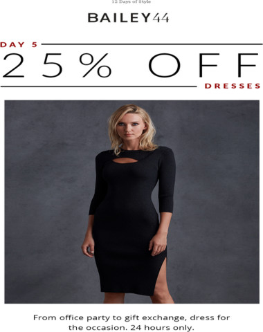 Day 5: Get holiday-ready with 25% off dresses.