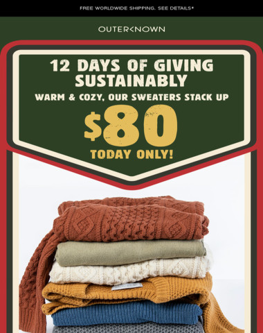 Last Day! Sustainable Sweaters for Only $80