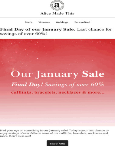 Our January Sale ends today!